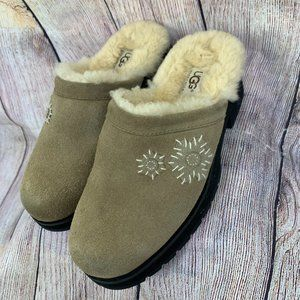 UGG Tan Leather Floral Fur Slip On Mules Shoes 7